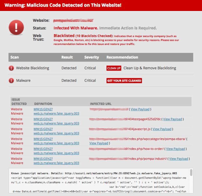 O site contém programas prejudiciais