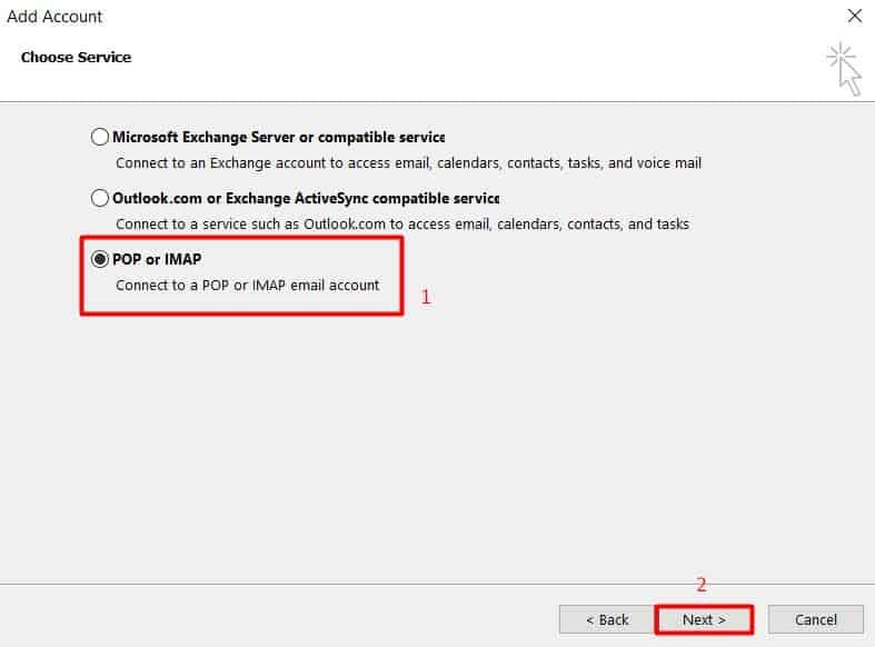 Tela de seleção de protocolos POP ou IMAP no Outlook 2013
