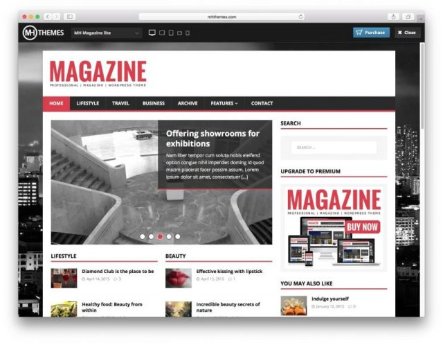 Demo page of the MHMagazine theme.