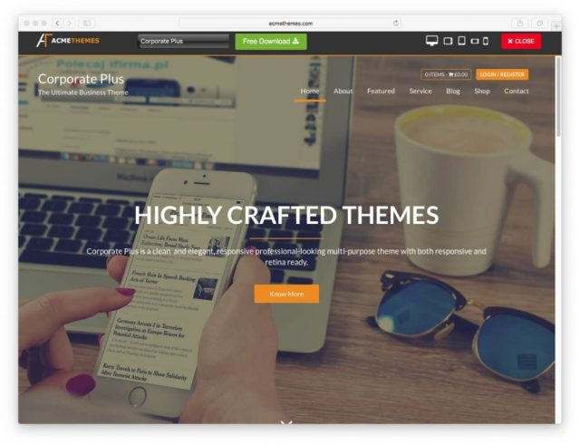 Demo page of the Corporate Plus theme.