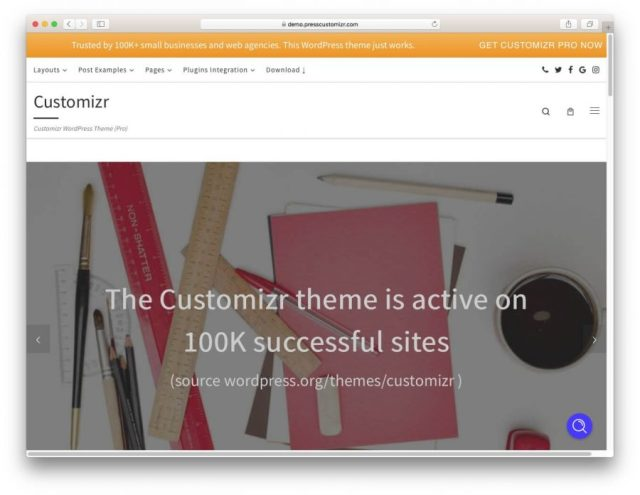 Demo page of the Customizr theme.