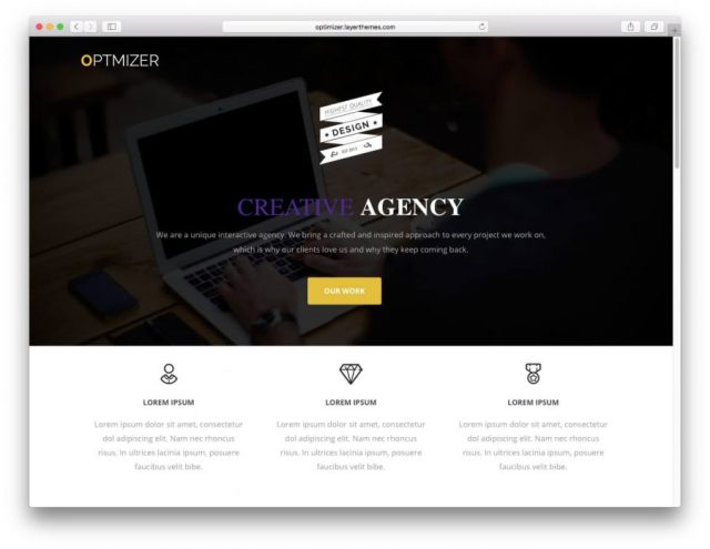 Demo page of the Optimizer theme.