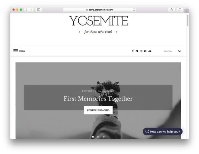 Yosemite theme demo page.