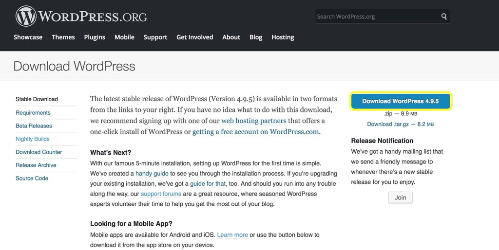 WordPress.org Download WordPress page