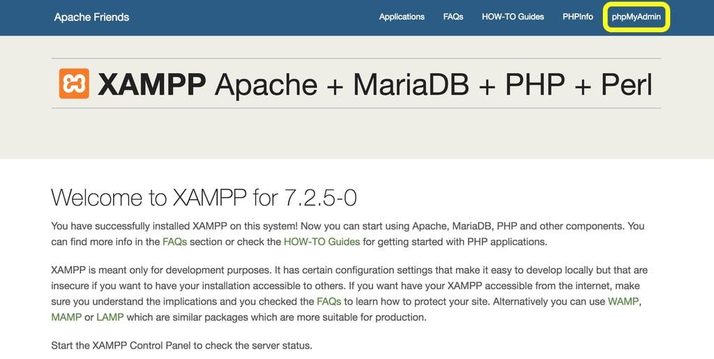 XAMPP Dashboard phpMyAdmin Button