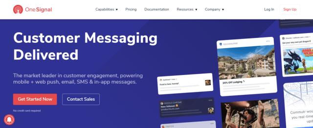 Screenshot of the OneSignal homepage