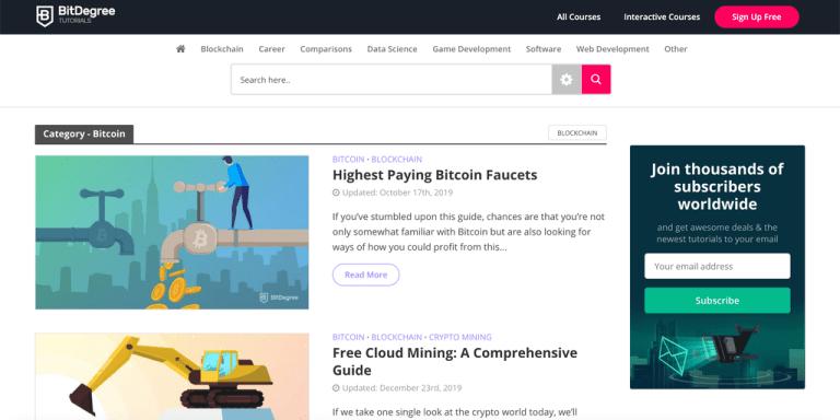 Cours Bitcoin dans BitDegree.