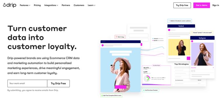 Drip frontpage - Plateforme de gestion de la relation client eCommerce.