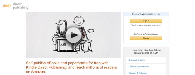 Site Web Amazon Kindle Direct Publishing.