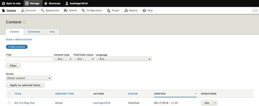 Creating a new blog post in Drupal CMS