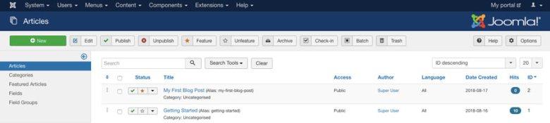 Creazione di post sul blog in Joomla CMS
