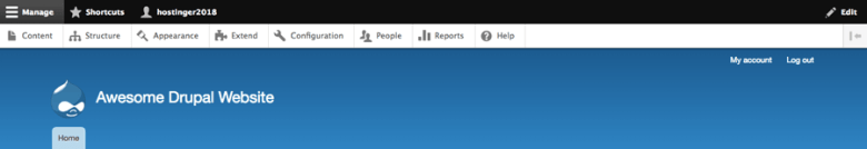 La vista principale della dashboard di Drupal