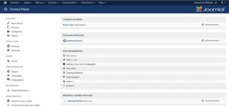 La vista principale della dashboard di Joomla