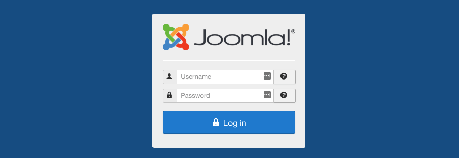 The login screen of Joomla CMS dashboard