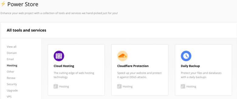 Modulo CloudFlare nel Power Store di Hostinger