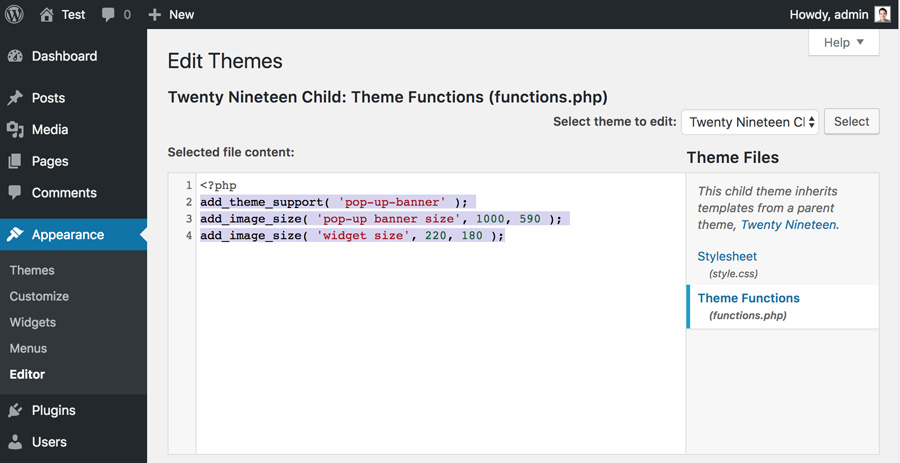 Edit functions.php file and add custom WordPress image sizes