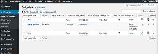Creando y editando entradas en el panel de WordPress