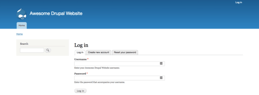 La pantalla de inicio de sesión de Drupal back-end.