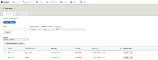La sección de contenido en el panel de Drupal.