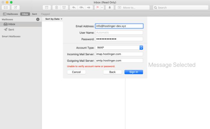 Mac Mail'de giriş bilgilerini doldurma