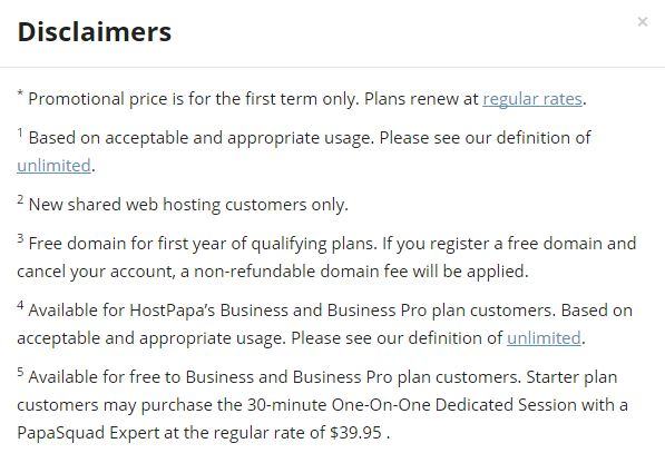HostPapa Review - Disclaimer