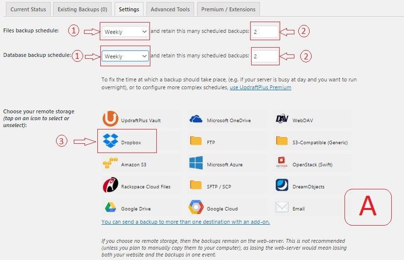 updraft plugin settings for backup