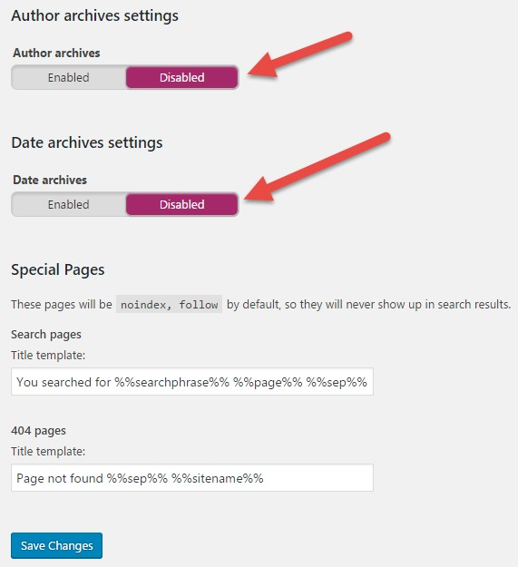 how to index and no index author archives