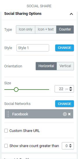 social share editing panel