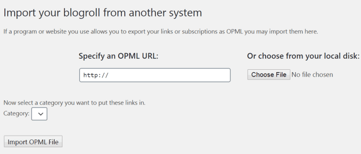 import OPML file in wordpress