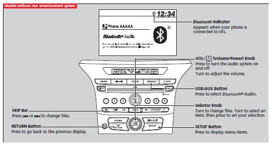 Playing Bluetooth® Audio :: Audio System Basic Operation
