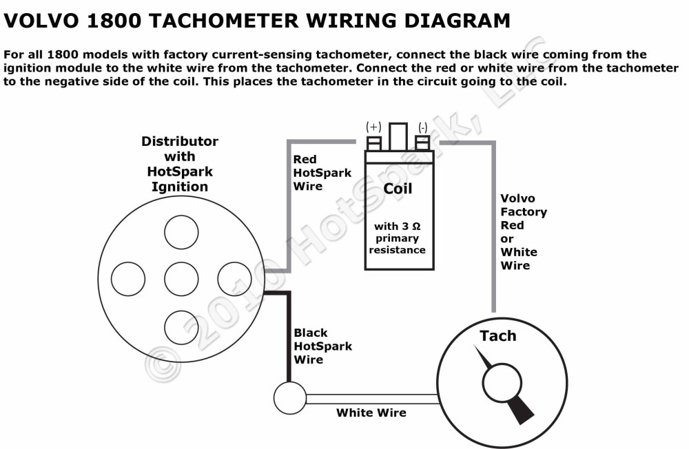 medium resolution of volvo 1800 tachometer wiring diagram with hotspark ignition 65 chevelle tach wiring diagram tach wiring diagram