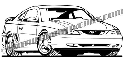 royalty free 1996 ford mustang gt art front view