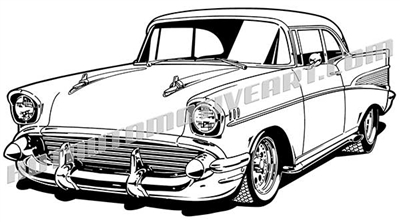 1957 chevy bel air vector clipart, classic cars