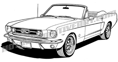 1966 ford mustang convertible vector clip art buy two