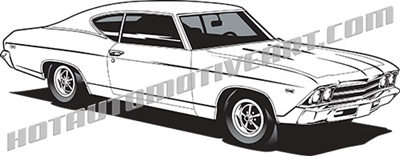 1969 chevy chevelle vector clip art, buy two images, get