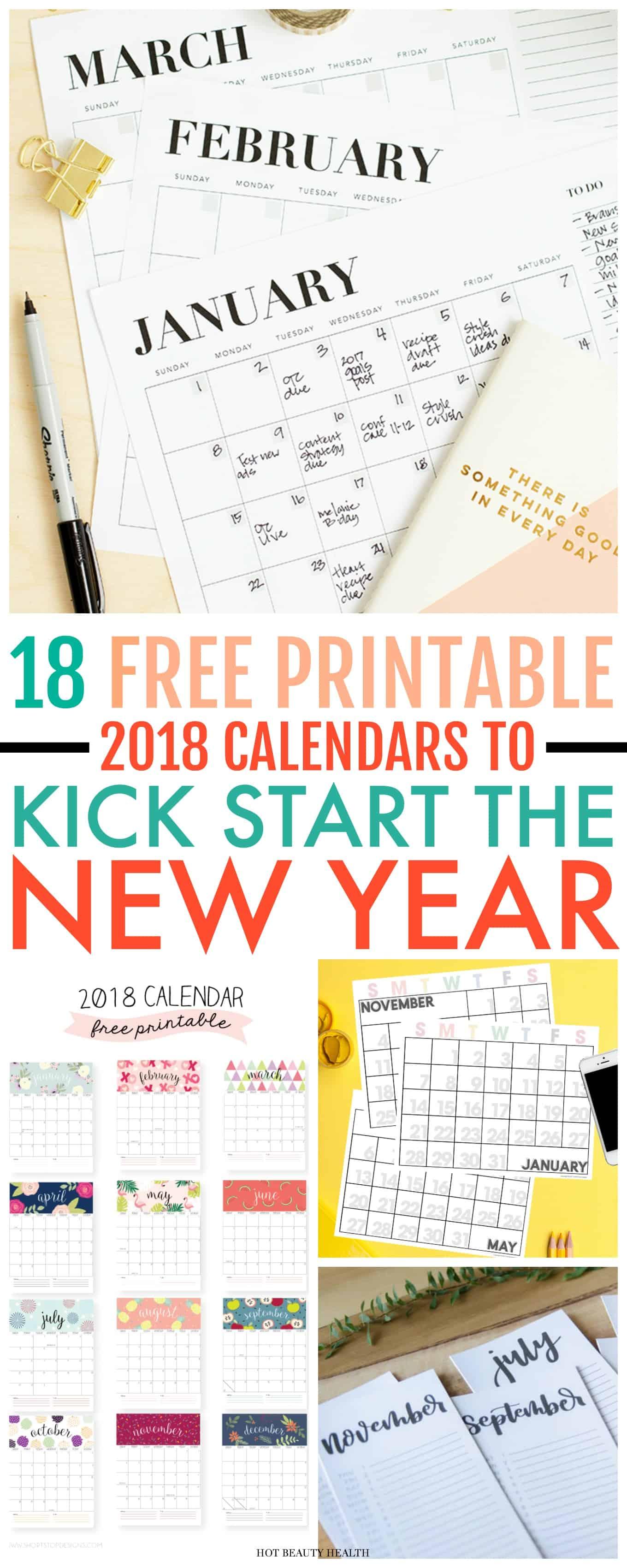 18 Free Printable Calendars To Kick Start The New