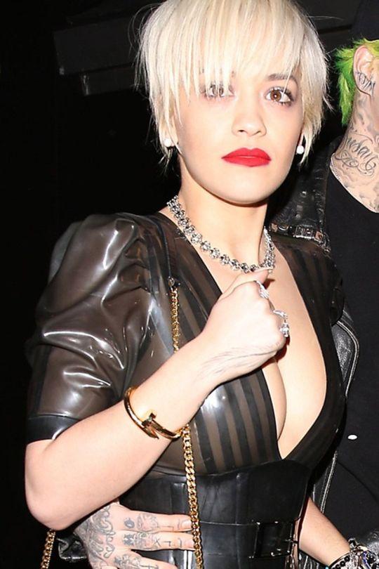 Rita Ora - Braless See-Through Candids in Hollywood
