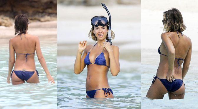Jessica Alba – Bikini Candids in Caribbean