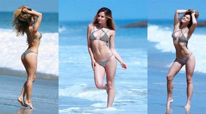 "Kaili Thorne – ""138 Water"" Bikini Photoshoot Candids in Malibu"