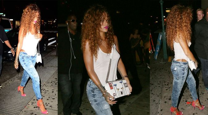 Rihanna – Braless Candids at 1OAK in New York