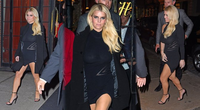 Jessica Simpson - Braless See-Through Candids in New York