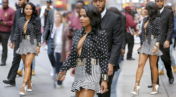Christina Milian – Braless Candids in New York