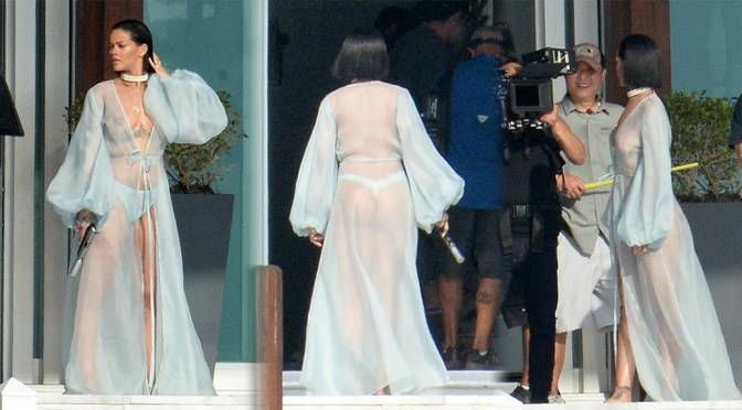 Rihanna – Braless See-Through Candids in Miami