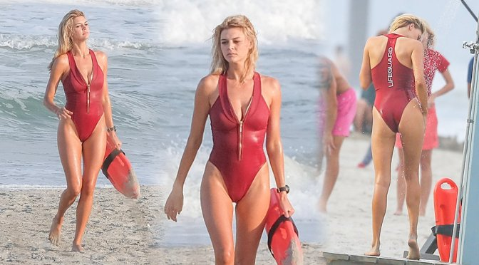"Kelly Rohrbach – Swimsuit Candids on ""Baywatch"" Set in Savannah"