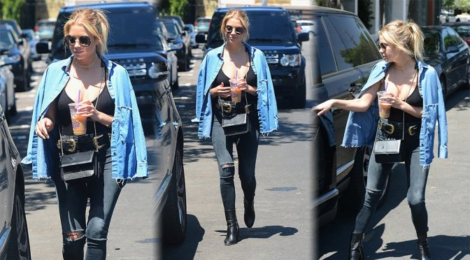 Ashley Benson – Braless Candids in West Hollywood