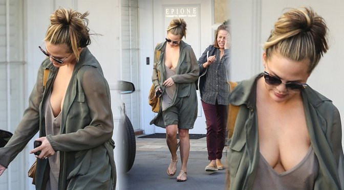 Chrissy Teigen – Cleavage Candids in Beverly Hills