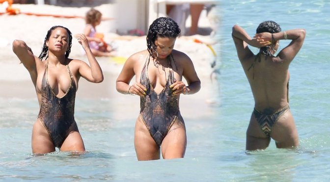 Christina Milian – Swimsuit Candids in Ibiza (Nipslip)