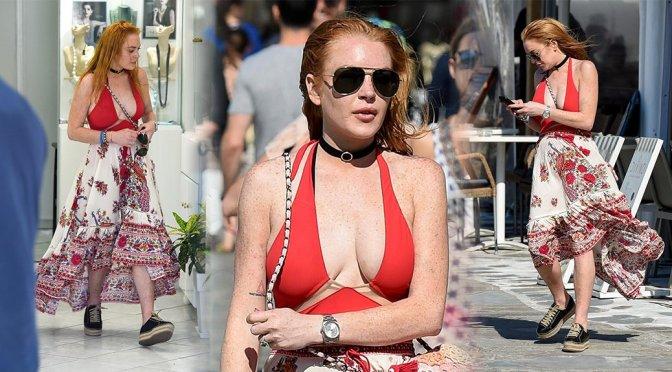 Lindsay Lohan – Cleavage Candids in Mykonos