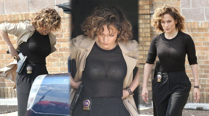 "Jennifer Lopez – See-Through Candids on ""Shades of Blue"" Set"