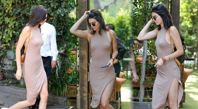 Kendall Jenner – Braless See-Through Candids in Woodland Hills